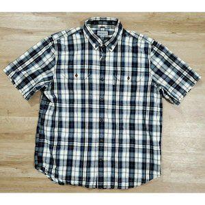Carhartt Mens Fort Blue White Plaid Shirt XL